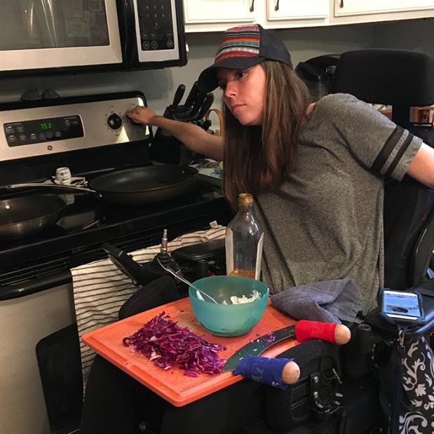 paralyzed wheelchair Tenodesis grasp cooking taco 5